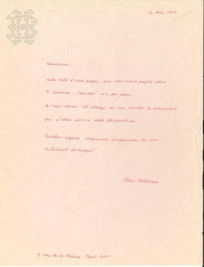 Hans BELLMER (1902-1975). L.A.S., Paris 2...