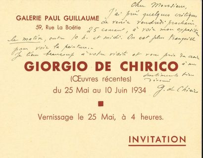Giorgio de CHIRICO (1888-1978). L.A.S., [mai...