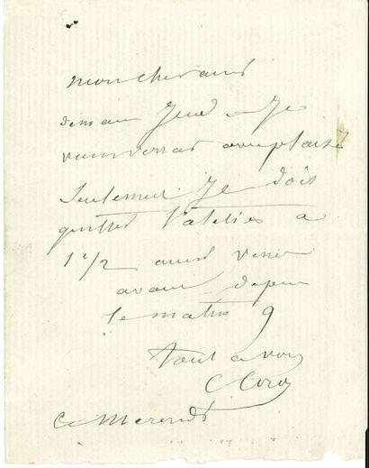Camille COROT (1796-1875). L.A.S., mercredi,...