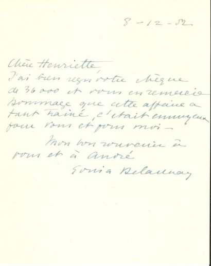 Sonia DELAUNAY (1885-1979). L.A.S., 8 décembre...