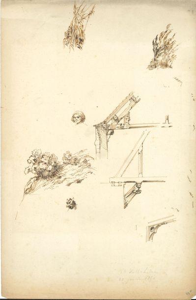 Dessins. 24 feuilles de dessins à la plume,...