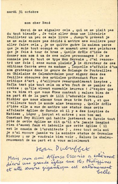 Jean DUBUFFET (1901-1985). L.S. avec 3 lignes...