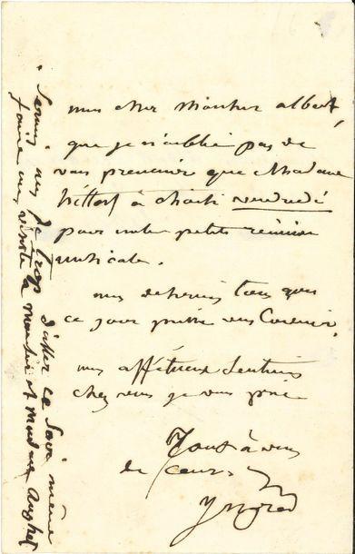 Jean-Dominique INGRES. L.A.S., à Albert Aughuet;...