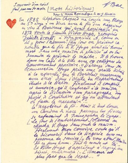 Ferdinand BAC. 20 manuscrits, lettres ou...