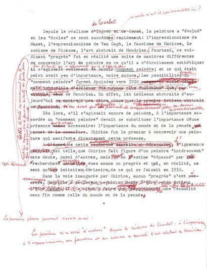 René MAGRITTE (1898-1967). Tapuscrit avec...
