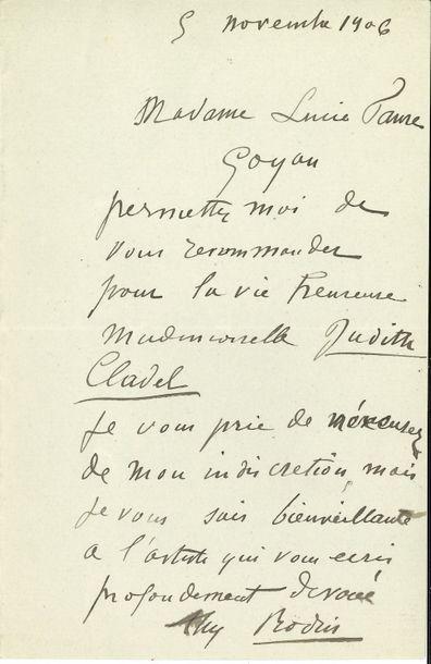 Auguste RODIN. L.A.S., 5 novembre 1906, à...