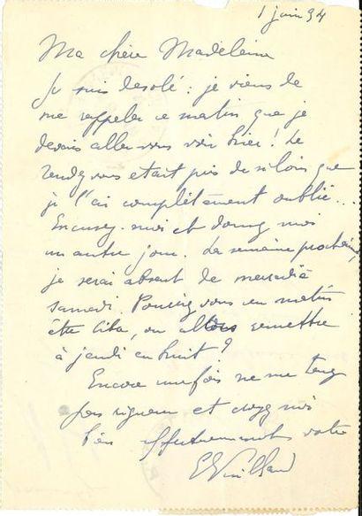 Édouard VUILLARD (1868-1940). L.A.S., 1er...