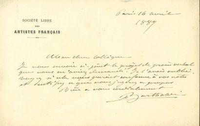 Auguste BARTHOLDI. L.A.S., Paris 16 avril...