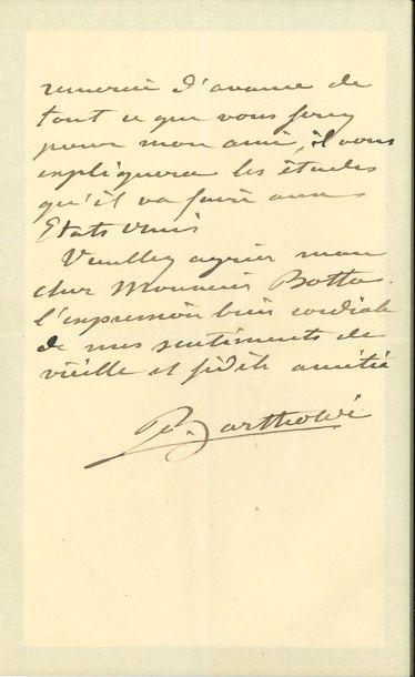 Auguste BARTHOLDI. L.A.S., 17 mai 1893, à...
