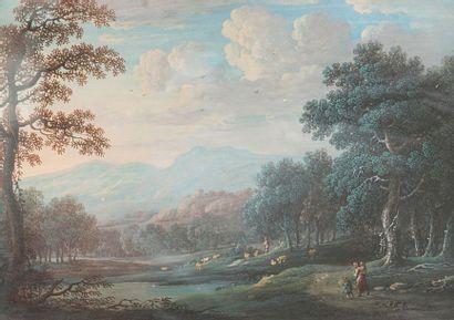 ÉCOLE FLAMANDE du XVIIIe siècle Paysage animé...