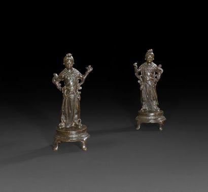 Chine - XXe siècle Paire de statuettes en...