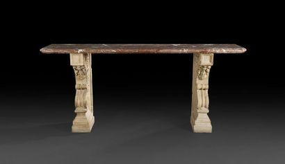 Grande console à plateau de marbre rouge du Languedoc du XVIIIe siècle à piètement...