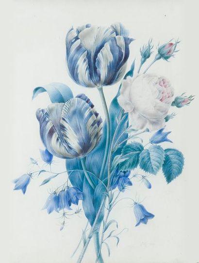 ZELIE (active au début du XIXe siècle) Fleurs Deux aquarelles, une aquarelle gouachée,...