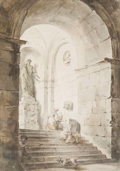 ÉCOLE d'Hubert ROBERT Femme à la fontaine...