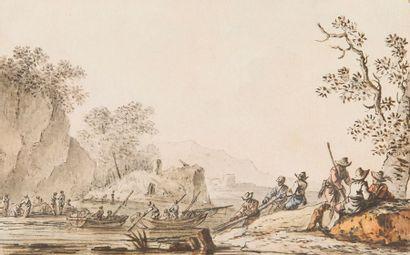 ÉCOLE FLAMANDE vers 1800 Pêcheurs Aquarelle...