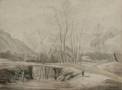 Amélie de BOHM (XIXe siècle) Village en hiver,...