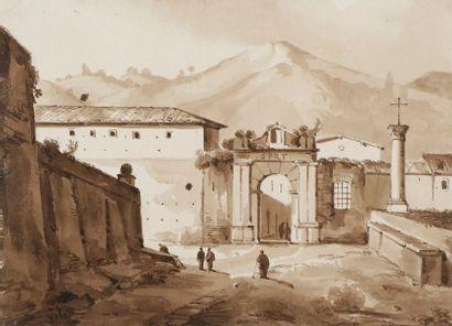 ÉCOLE de François-Marius GRANET (1775-1849) Porte de Tivoli Plume et encre brune,...
