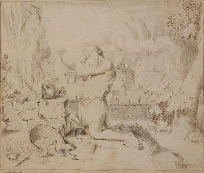 ÉCOLE de Gérard de LAIRESSE (1641-1711) Le Sacrifice de Cain ? Plume, encre brune...
