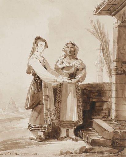 Jean ALAUX (1786-1864) Scène animée dans...