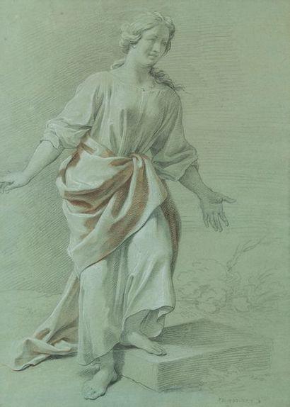 Johann PRIESLER Étude de femme drapée Trois...