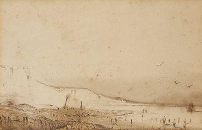 Attribué à Théodore GUDIN (1802-1880) Falaises...
