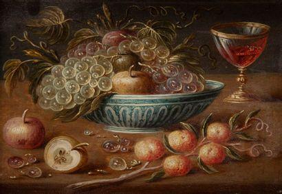 Pseudo VAN KESSEL (Actif au XVIIe siècle) Nature morte aux gâteaux et framboises...