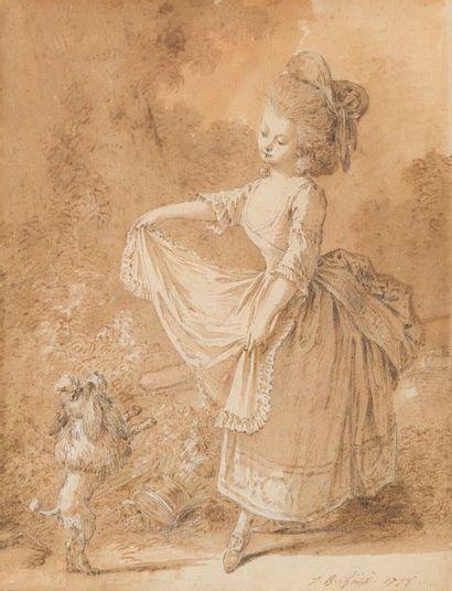 Jean-Baptiste HUET (1745-1811) Jeune fille...