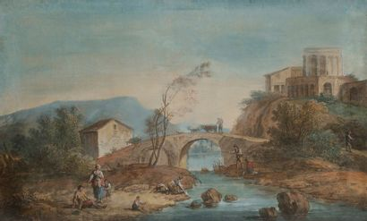 Attribué à Giuseppe ZAIS (1709-1784) Village...