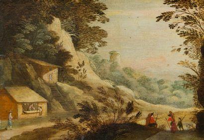 ÉCOLE FLAMANDE du XVIIIe siècle Paysage Panneau...