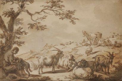 ÉCOLE FRANÇAISE du XVIIIe siècle Berger et...