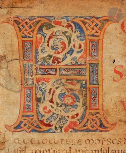 Initiale H ornée Fragment extrait d'une Bible Tempera et gouache sur parchemin Italie,...