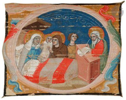 Initiale « D » historiée. Naissance de saint...