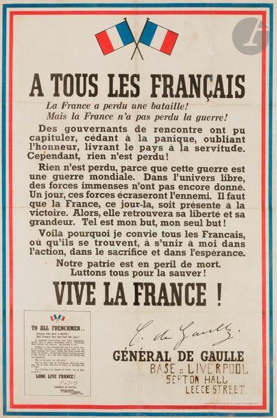 GAULLE (Charles de). À tous les français....