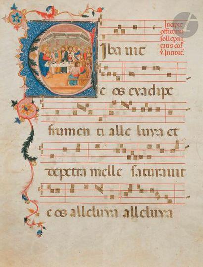 Initiale « C » historiée. La Cène. Feuillet extrait d'un graduel Tempera, gouache...