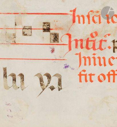 Initiale « N » historiée. David devant un ange Fragment extrait d'un graduel Tempera,...