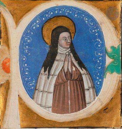 Initiale « P » historiée. Sainte Claire d'Assise...