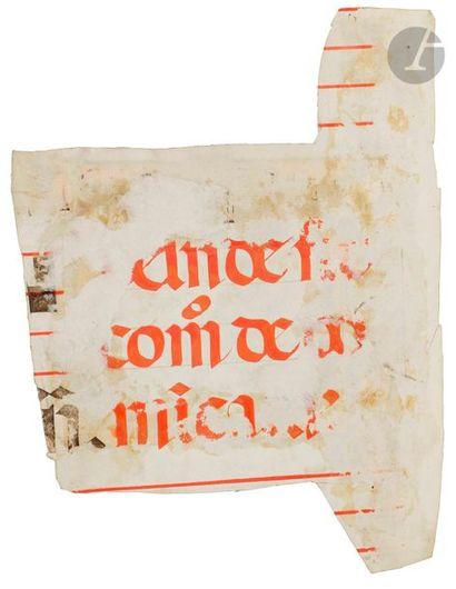 Initiale « S » ornée Fragment d'un antiphonaire ou graduel Tempera, gouache, encre...