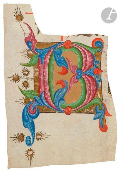 Initiale « B » ornée Fragment d'un antiphonaire...