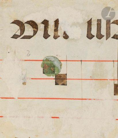 Initiale « I » ornée. Fragment d'un livre de chœur Tempera, gouache, encre et or...
