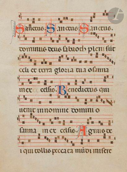Initiales filigranées. Musique notée Feuillet extrait d'un missel Tempera, gouache...