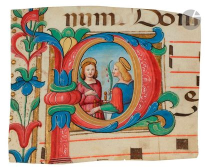 Initiale « P » historiée. Deux saintes (Libérate...