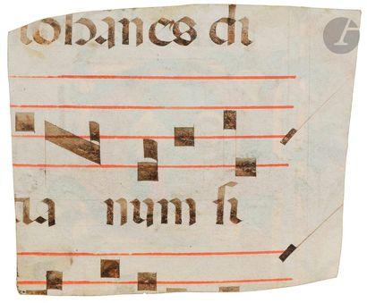 Initiale « P » historiée. Deux saintes (Libérate et Faustine ?) Fragment d'un antiphonaire...