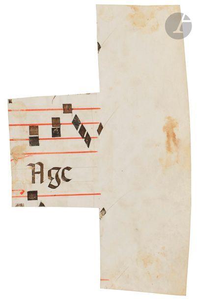 Initiale « A » ornée Fragment d'un antiphonaire ou graduel Tempera, gouache, encre...