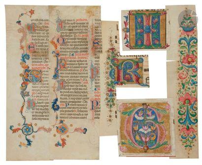 Montage de six fragments extraits de manuscrits...