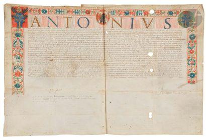 Charte enluminée avec armes. Lettres de nomination...