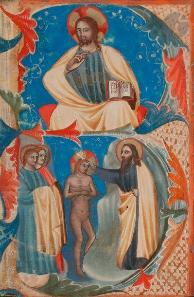 Initiale « B » historiée. Christ bénissant...