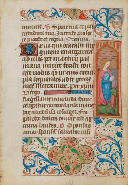 Ensemble de 3 feuillets enluminés extraits d'un livre d'heures Suffrages des saints...