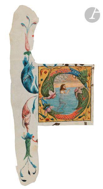 Initiale « S » historiée. David dans les eaux du désespoir Fragment d'un psautier...