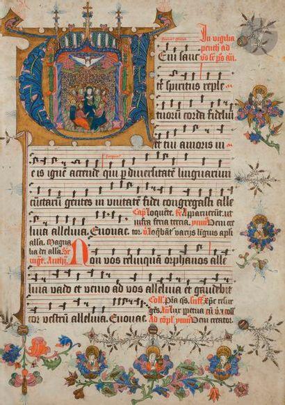 Initiale « V » historiée. Pentecôte. Feuillet extrait d'un graduel Tempera, gouache...