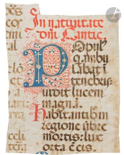 Initiale « P » ornée et filigranée Fragment...